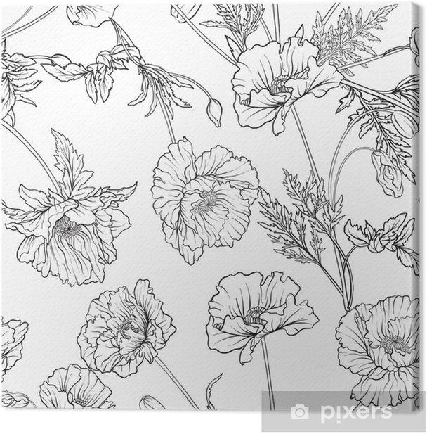 Tableau Sur Toile Modele Sans Couture Avec Des Fleurs De Pavot Dans Un Style Vintage Botanique Dessin A Main Coloriage Dessin Pour Le Livre De Coloriage Adulte Illustration Vectorielle De Ligne De