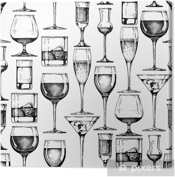 Tableau sur toile Modèle sans couture avec différents verres gobelets - Boissons