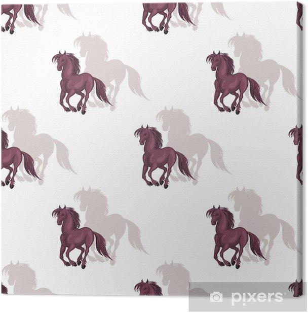 Tableau sur toile Modèle sans couture avec une image réaliste de beaux chevaux. fond de vecteur. - Ressources graphiques