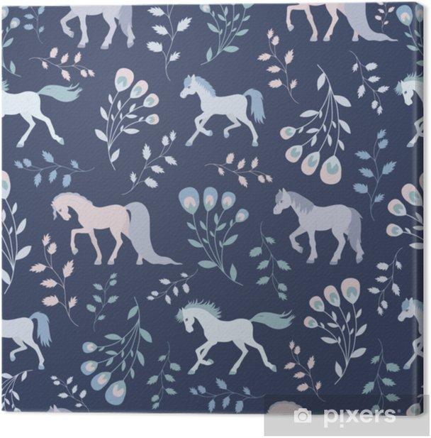 Tableau sur toile Modèle sans couture, chevaux de fée et ornement floral - Ressources graphiques