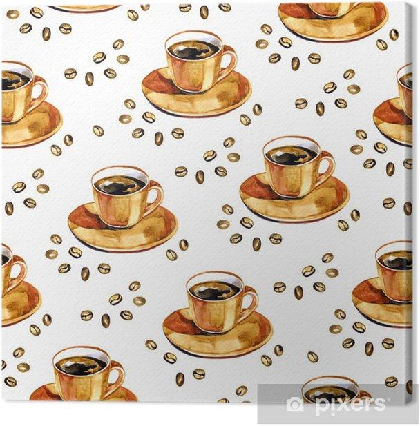 Tableau sur toile Modèle sans couture de café aquarelle. texture extensible dessinés à la main avec tasse et grains de café sur fond blanc. - Passe-temps et loisirs