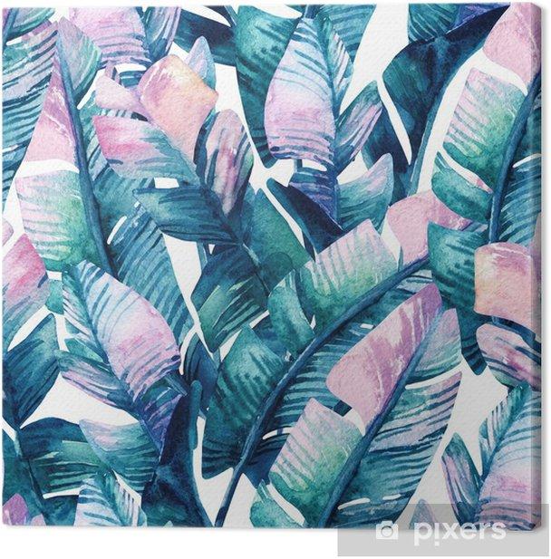 Tableau sur toile Modèle sans couture de feuille de banane aquarelle. - Plantes et fleurs
