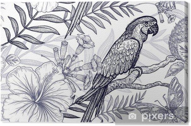 Tableau Sur Toile Modèle Sans Couture De Fleurs Et Oiseaux Dessin à Main Levée Noir Et Blanc Branches De Palmier Ananas Hibiscus Papillons