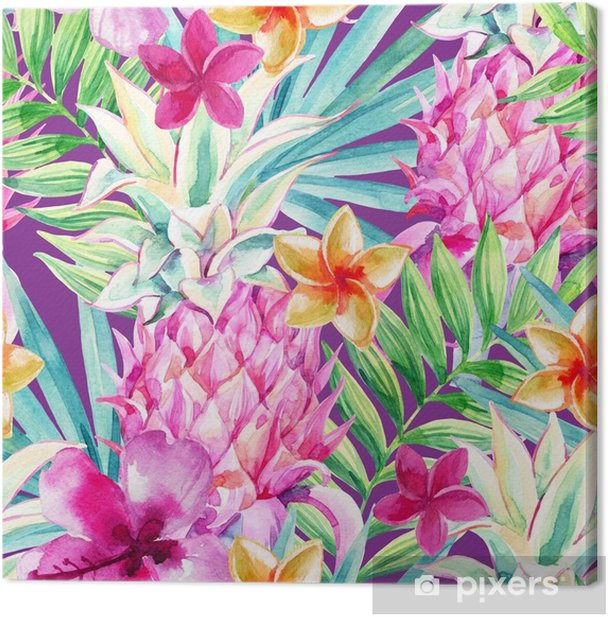 Tableau sur toile Modèle sans couture de fruits ananas aquarelle - Plantes et fleurs