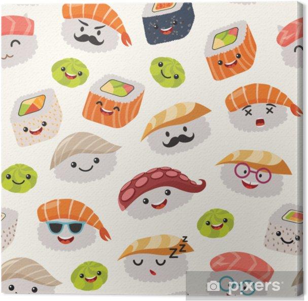 Tableau Sur Toile Modèle Sans Couture De Sushi Emoji Style Cartoon Personnage émoticône Kawaii Main Dessiner Des Objets De Cuisine Japonaise