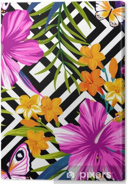 Tableau sur toile Modèle sans couture florale tropicale avec des papillons. feuilles d'hibiscus et de palmiers sur fond géométrique - Plantes et fleurs