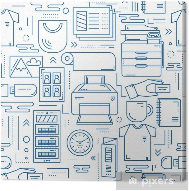 Tableau sur toile Modèle sans couture linéaire de centre de copie - Ressources graphiques