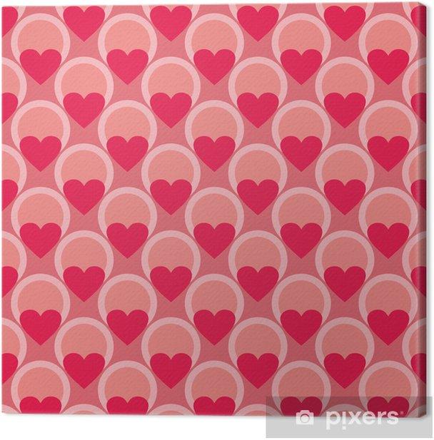Tableau sur toile Modèle vectoriel rose et rouge ou fond avec des coeurs - Fêtes internationales