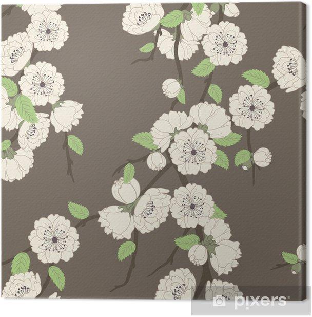 Tableau sur toile Modèle vectoriel sans soudure avec la branche sakura - Fleurs
