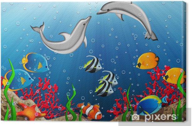 Tableau sur toile Monde sous-marin avec des dauphins et des poissons tropicaux - Thèmes