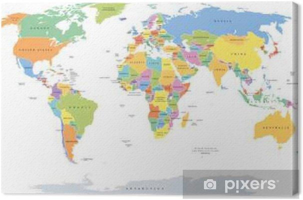Tableau sur toile Mondiale unique indique la carte politique avec les frontières nationales. Chaque zone de campagne avec sa propre couleur. Illustration sur fond blanc sous projection Robinson. étiquetage anglais. - Voyages