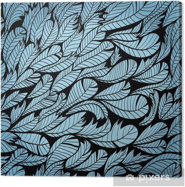 Tableau sur toile Monochrome transparente main bleue dessinée motif de plumes. Eps10 - Liberté