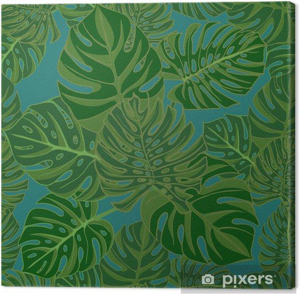 Tableau Sur Toile Monstera Tropical Feuilles Dessin Realiste Dans Le Style Vintage Seamless Background