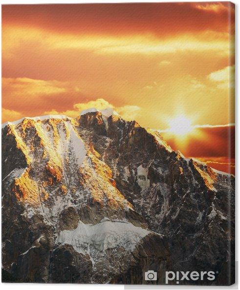 Tableau sur toile Montagne cordillères sur le coucher du soleil - Montagne