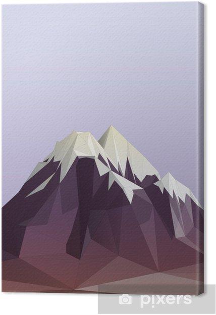 Tableau sur toile Montagne illustration de style low-poly - Sports d'hiver