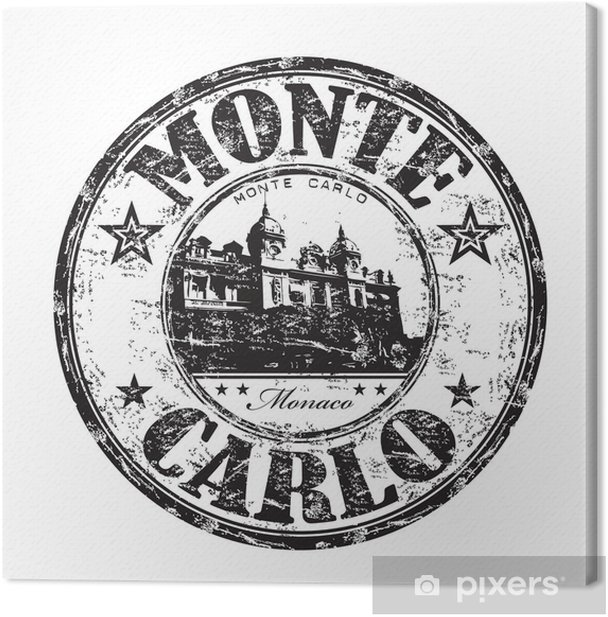 Tableau sur toile Monte Carlo rubber stamp - Europe