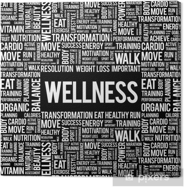 Tableau sur toile Mot WELLNESS nuage, fitness, sport, le concept de la santé -