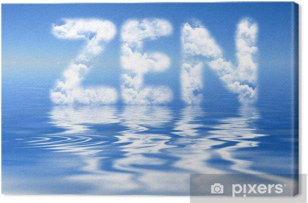 Tableau sur toile Mot zen, nuages et reflets - Signes et symboles