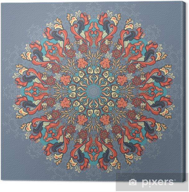 Tableau sur toile Motif de dentelle autour d'ornement. motif floral - Plantes