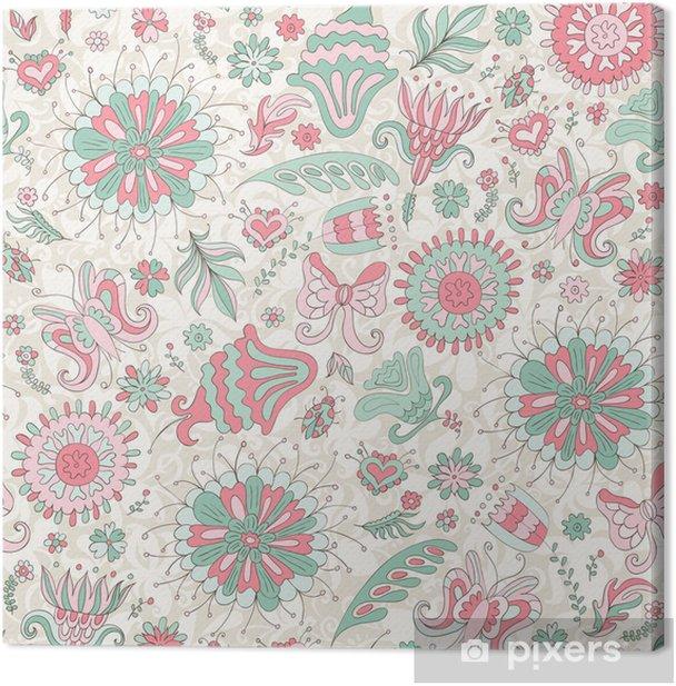 Tableau sur toile Motif de l'été avec des fleurs rose Seamless - Célébrations