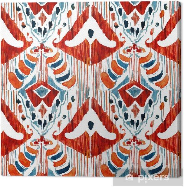 Tableau sur toile Motif Ikat bohème seamless ethnique dans le style d'aquarelle. - Ressources graphiques