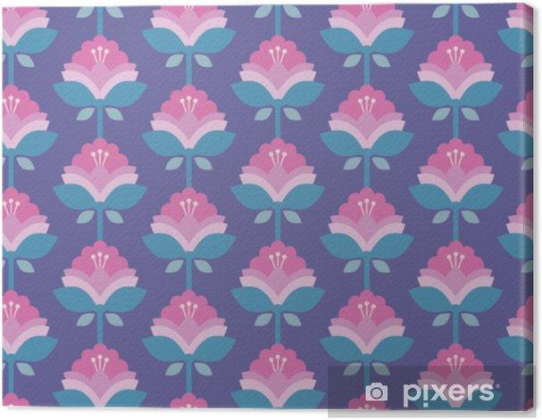 Tableau sur toile Motif rétro sans couture avec des fleurs - Plantes et fleurs