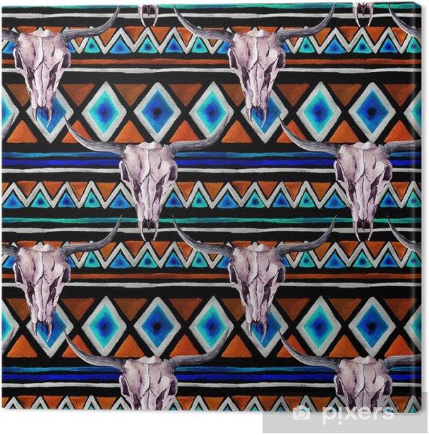 Tableau sur toile Motif tribal - crâne animal. fond transparent avec un design tribal à la mode. aquarelle - Ressources graphiques