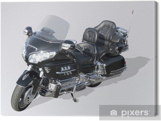 Tableau sur toile Moto noire - Sur la route