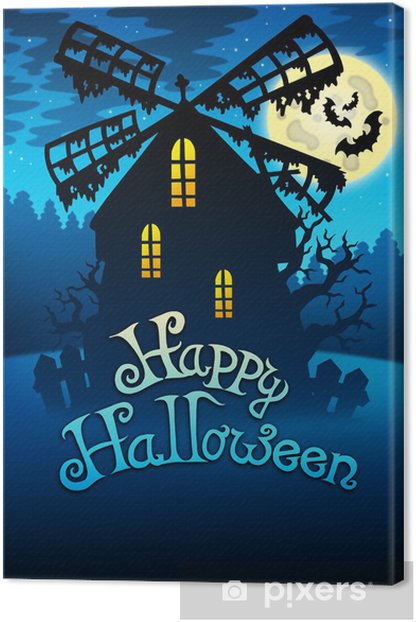 Tableau sur toile Moulin Halloween mystérieuse 1 - Fêtes internationales