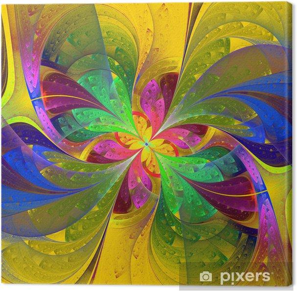 Tableau sur toile Multicolore belle fleur fractal sur fond jaune. Comput - Arrière plans
