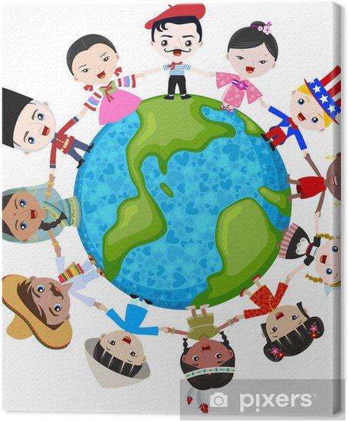 Tableau sur toile Multiculturel pour les enfants sur la planète Terre, la diversité culturelle - Sticker mural