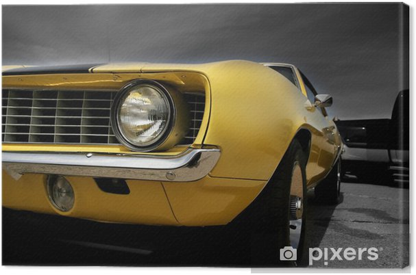 Tableau sur toile Muscle car jaune - Sur la route