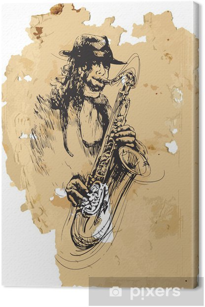 Tableau sur toile Musicien, saxophoniste. Dessin à la main dans le vecteur - Jazz