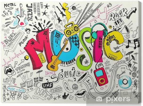 Tableau sur toile Musique Doodle - Hip hop