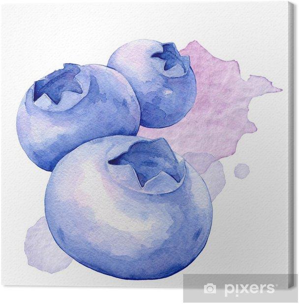 Tableau sur toile Myrtilles. Illustration d'aquarelle - Fruits