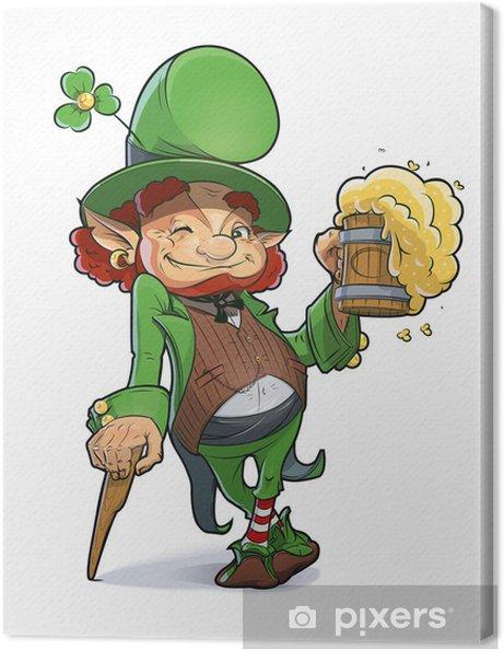 Tableau sur toile Nain avec bière. Illustration pour le jour saint Patrick. Eps10 - Évènements nationaux