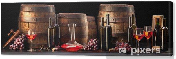 Tableau sur toile Nature morte avec du vin rouge et vieux baril - Thèmes