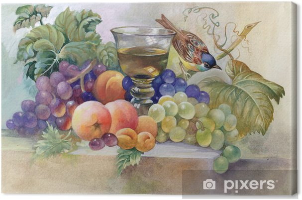 Tableau sur toile Nature morte avec verre de vin - Art et création