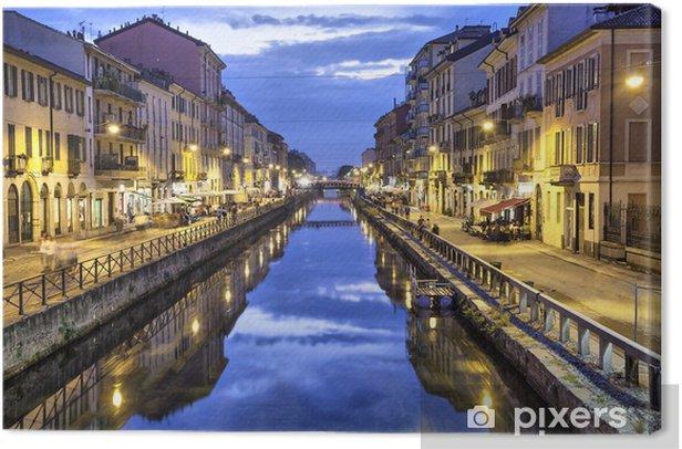 Tableau sur toile Naviglio Grande canal dans la soirée, Milan - Europe