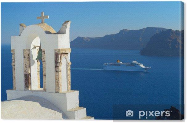 Tableau sur toile Navire de croisière dans la caldeira d'Oia, Santorini, Cyclades, Grèce - Europe