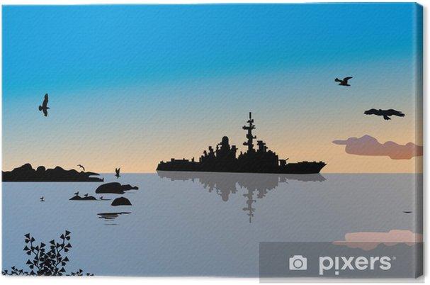 Tableau sur toile Navire militaire et de réflexion dans la mer - Bateaux