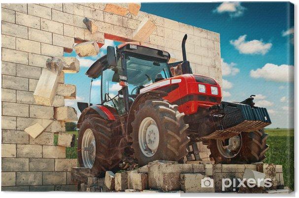 Tableau sur toile Neuf Tracteur briser le mur - Thèmes