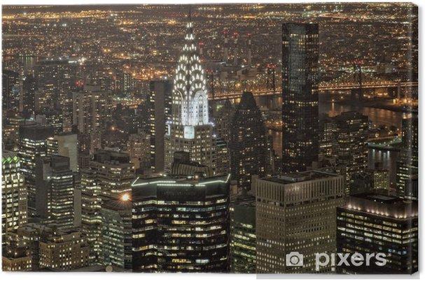 Tableau sur toile New York, vue de nuit panorama paysage urbain - Paysages urbains