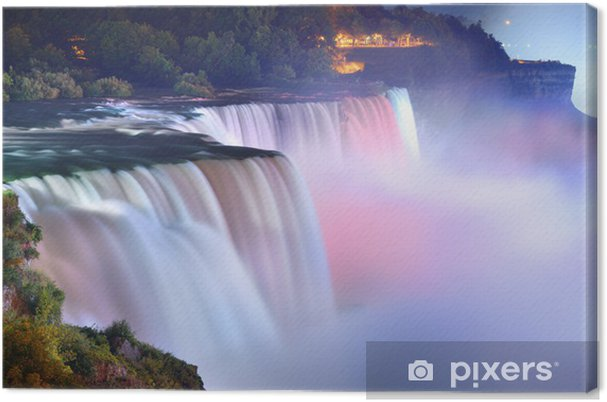 Tableau sur toile Niagara Falls en couleurs - Thèmes
