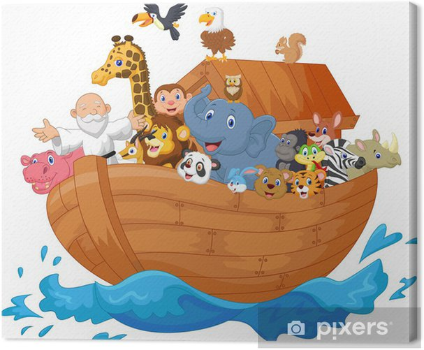 Tableau sur toile Noé dessin animé arche - Sticker mural