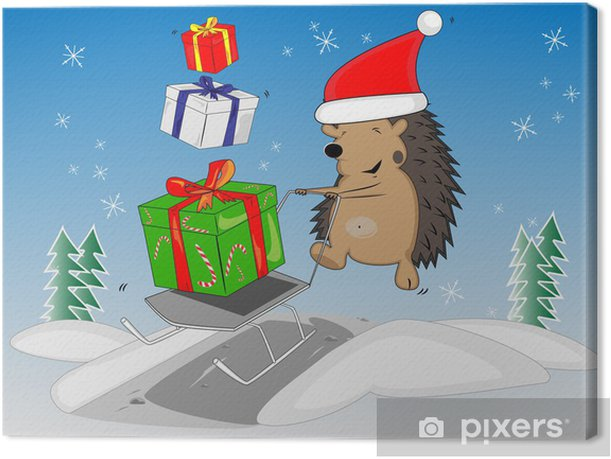 Tableau sur toile Noël hérisson - Fêtes internationales