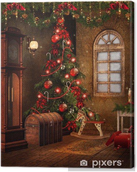 Tableau sur toile Noël salle rétro avec des ornements rouges - Fêtes internationales