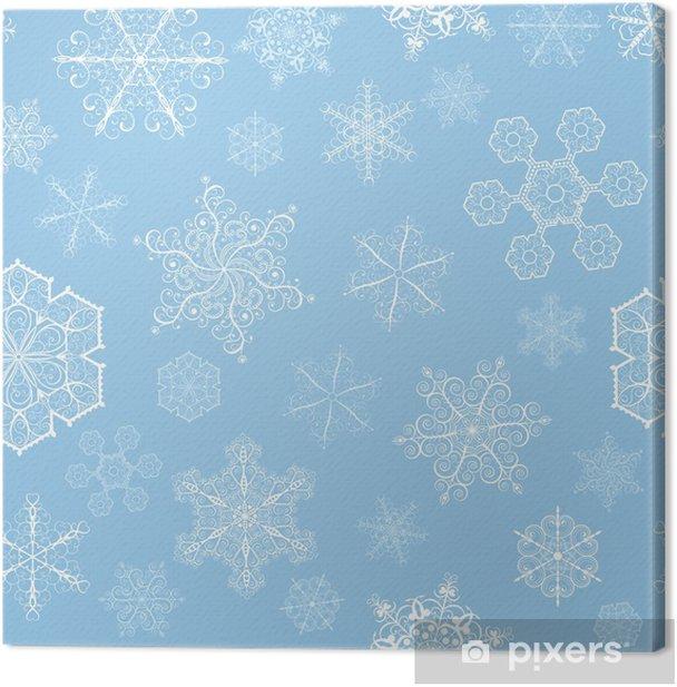 Tableau sur toile Noël, seamless, avec des flocons de neige, petits et grands sur cyan - Thèmes