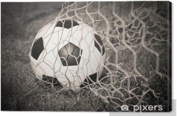 Tableau sur toile Noir et blanc: ballon de football dans le but dans un filet - Sport