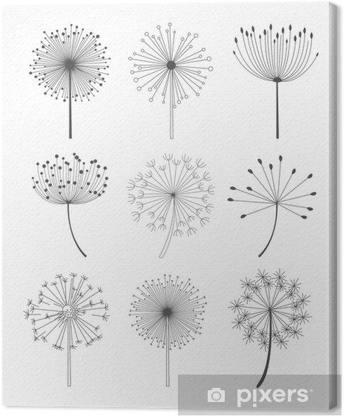 Tableau Sur Toile Noir Et Blanc Pissenlits Set Vector Illustration